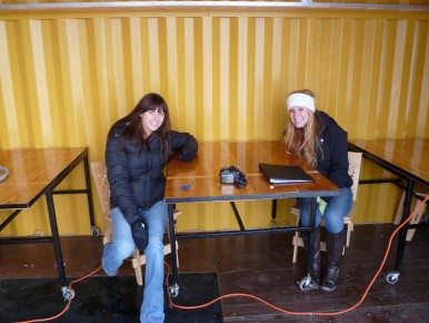 Ball State students Caroline Lawson and Kelsi Stephens helped design the mobile classroom at the CUE Farm.
