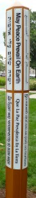Butler's Peace Pole stands between Jordan Hall and Atherton Union.