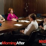 "Joshua LeBar '99 (hand on chin) had a small but pivotal role in the April 5 episode of ""Mad Men."""