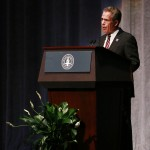 Butler University President JIm Danko speaks at Clowes Memorial Hall on September 25.