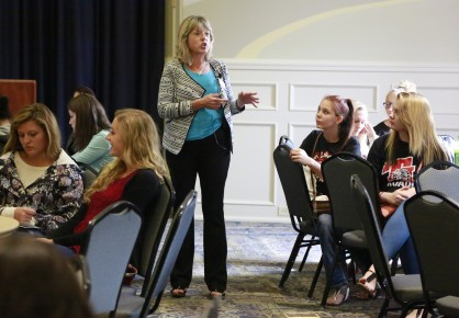 College of Education Assistant Dean Angela Lupton talked to students from six school districts about education and Butler.