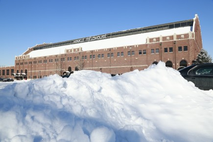Butler University's Hinkle Fieldhouse in winter January 3, 2014.