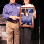 Rachel Chambers with astronaut David Wolf, who moderated the question-and-answer session. (Photos by Jennifer Messmer)
