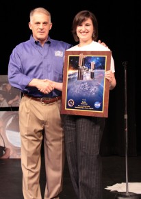 Rachel Chambers with astronaut David Wolf, who moderated the question-and-answer session.