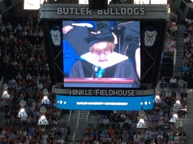 Eva Kor in Hinkle Fieldhouse