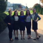 The team, from left: Karly Krebs, senior, Marketing and Management Information Systems major; Taylor Gillenwater, senior, Marketing and Finance major; Allison Wolff, sophomore, Entrepreneurship & Innovation and Marketing major;  Samantha Chalmers, junior, International Business major; Nicole Henrich, sophomore, International Business, French, and German major