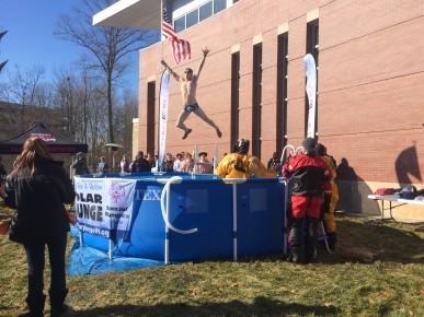 Senior Jake Michalski takes the Polar Plunge.