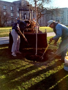 Sophomore Marisa Heiling and James Conner, Grounds Supervisor, planted trees outside Schwitzer Hall on March 31 to kick off Earth Month.
