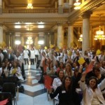 Butler students and faculty at Physician Assistant Legislative Day rally at the Indiana State House.
