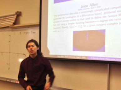 "Butler student Jesse Allen presents ""A Blaschke-Factor Bifurcation Locus"""