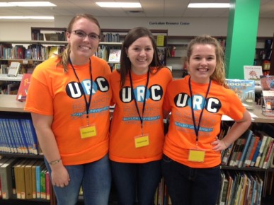 Emily Wilkerson, a sophomore Elementary Education major from Columbus, Indiana, Moriah Riggs, a sophomore Marketing/Communications major from Hernando, Mississippi, and Allissa Quick, a sophomore Pharmacy major from Terre Haute, Indiana, were among the volunteers helping out at the URC.