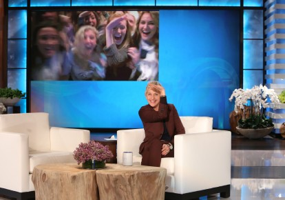 Ellen salutes Butler's Delta Gammas. Photo by Michael Rozman/Warner Bros.