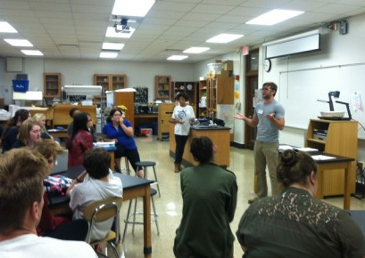 Butler MFA graduate student Luke Wortley leads an impromptu poetry slam as part of the Writing in the Schools program.