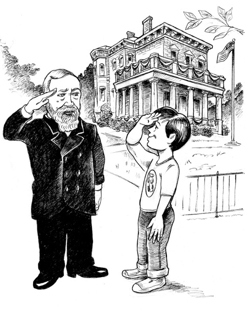 "Bobby, a character in ""The Gifts of Indiana,"" meets President Benjamin Harrison. Artwork by Taylor Bowen '18"
