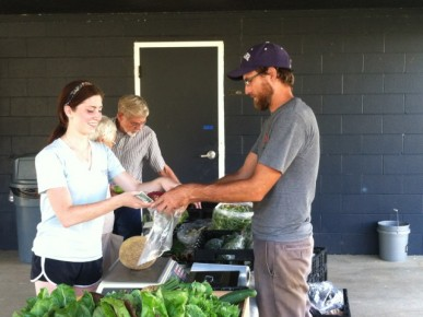 Farm manager Tim Dorsey assists senior engineering major Alyssa Setnar, who bought raspberries and cantaloupe from the CUE farm stand.