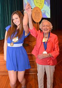 Butler junior Liz Niemiec, 20, was the youngest 2014 Indiana Jefferson Award recipient. The oldest recipient, Ruth Rusie, 95, joins Niemiec at the April award ceremony, which recognized outstanding public service.