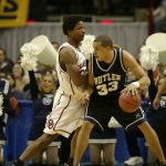 March 28, 2003 Butler University mens basketball team versus the Oklahoma Sooners at the NCAA Mens Basketball Tournament Sweet 16 at Albany, New York.