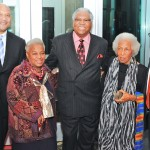 Congressman Andre Carson (left) and Dean Ronald Caltabiano (right) with the first Legend Award winners, Fay Williams, Everett Greene, and Mari Evans.