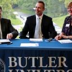 James Danko, Chris Lanctot, and Mary Andritz sign scholarship agreement.